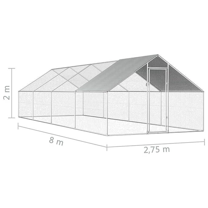 Tidyard Jaula gallinero de Exterior de Acero galvanizado 2,75x8x2 ...