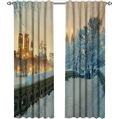 - shenglv Winter, Curtains to Keep Out Heat, Central Park Winter Skyscrapers and Snow Bow Bridge Manhattan New York, Curtains Nursery, W96 x L108 Inch, Orange White Olive Green