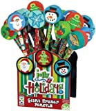 Geddes Jolly Holiday Pencil Assortment with Giant Eraser Topper - Set of 36