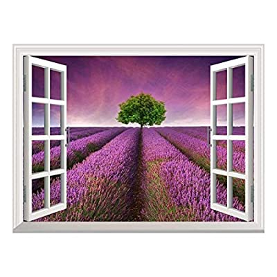 Removable Wall Sticker Wall Mural Tree on a Purple Filed Creative Window View Wall Decor, With Expert Quality, Unbelievable Piece