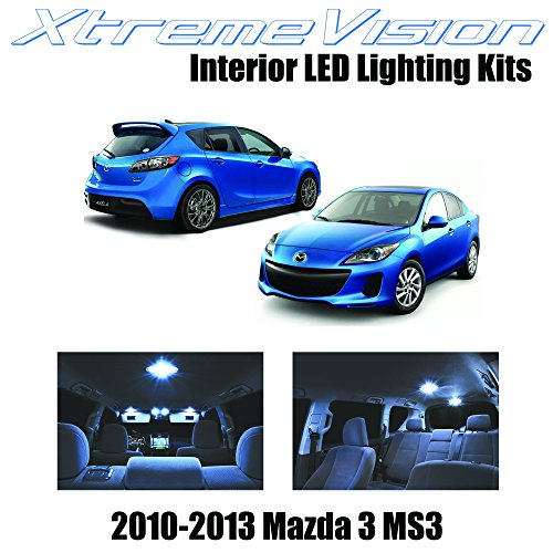 XtremeVision Interior LED for Mazda 3 MS3 Sedan Hatch 2010-2013 (7 Pieces) Cool White Interior LED Kit + Installation Tool