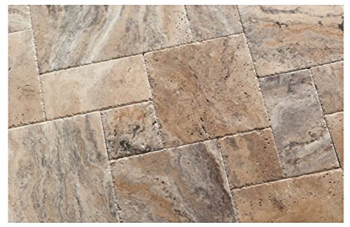 Philadelphia Travertine Versailles / Ashlar Pattern Tiles, Unfilled / Brushed & Chiseled (Lot of 72 Sq. Ft. (9 Bundles)) by Oracle Tile & Stone