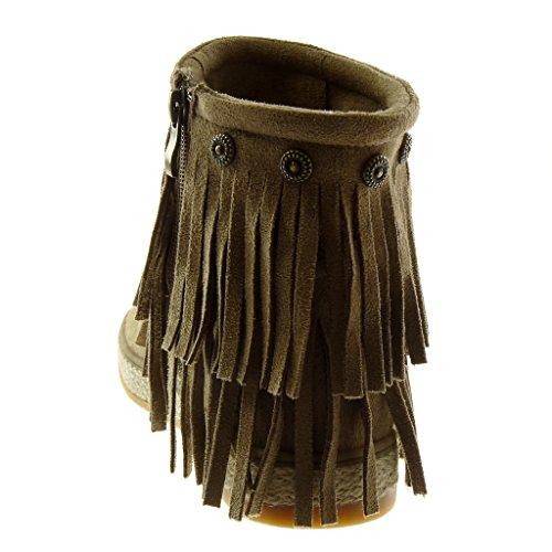 Angkorly Zapatillas Moda Botines Folk Botas Mocasines Altas Mujer Fleco Tachonado Cuerda Tacón Plano 3 cm Caqui