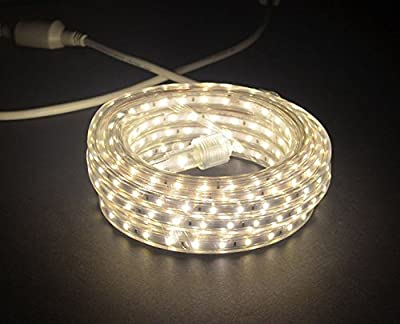 CBConcept® 16.4 Feet 120 Volt High Output LED SMD5050 Flexible Flat LED Strip Rope Light - [Christmas Lighting, Indoor / Outdoor rope lighting, Ceiling Light, kitchen Lighting] [Dimmable] [Ready to use] [7/16 Inch Width X 5/16 Inch Thickness]