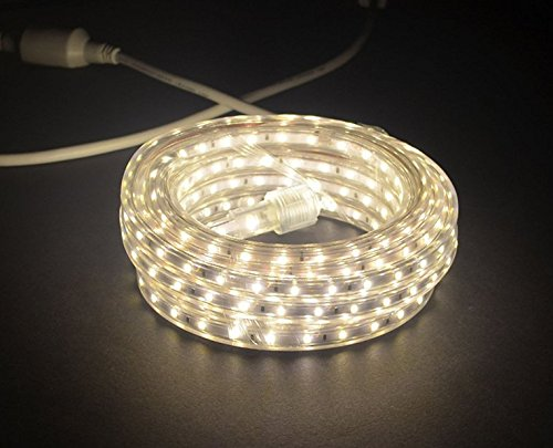 120v Rope Light (CBConcept UL Listed, 10 Feet, 1080 Lumen, 4000K Soft White, Dimmable, 110-120V AC Flexible Flat LED Strip Rope Light, 180 Units 3528 SMD LEDs, Indoor/Outdoor Use, Accessories Included, [Ready to use])