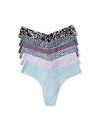 La Isla Women's 6 Pack Sexy Printed Seamless Soft Low Rise Thong Panty