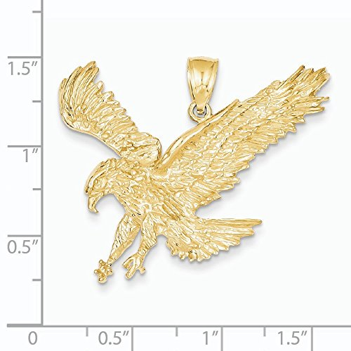 Texture d'atterrissage 14 Carats Pendentif aigle-Dimensions :  31,7 x 38.5 mm-JewelryWeb