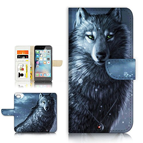 (For iPhone 8 Plus / iPhone 7 Plus ) Flip Wallet Style Case Cover, Shock Protection Design with Screen Protector - B31014 Night Wolf