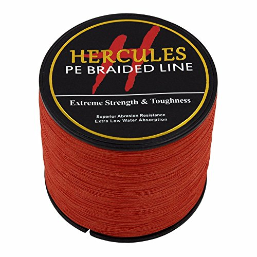 HERCULES 1000m 1094yds Red 6lbs-100lbs Pe Braid Fishing Line 4 Strands (40lb/18.1kg 0.32mm)