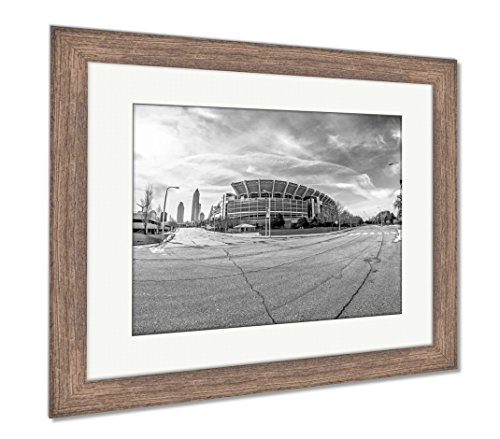 Ashley Framed Prints March 2017 Clevelan Ohio Cleveland Brouwns Nfl Stadium At Dayt, Wall Art Home Decoration, Black/White, 26x30 (frame size), Rustic Barn Wood Frame, AG6364261