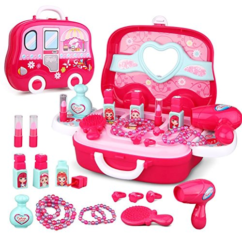 Life-Tandy Make Up Box Toy Set for Baby Little Girl Plastic Miniature Hair Dryer Comb Necklace Bracelet Ring Pretend Play Children's Kit for Christmas Present
