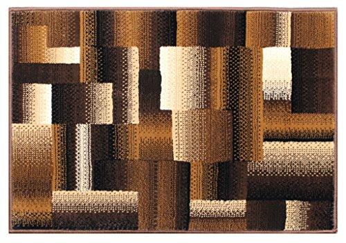 Beige Contemporary Rug - Masada Rugs, Modern Contemporary Mat Area Rug, Brown Black Beige (2 Feet X 3 Feet) Mat