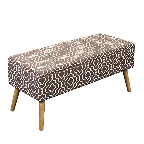 Otto Ben Mid Century Ottoman with EASY LIFT Top, Upholstered Shoe Ottomans Seats for Entryway and Bedroom, Moroccan Brown