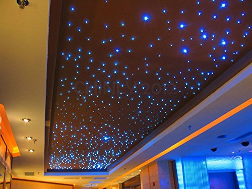 CHINLY 32W RGB 4-Speed Twinkle LED Fiber Optic Star Ceiling Kit Light Lamp 800 Strands 13.1ft Long 0.75mm +28key RF Remote (Cable Kit Fibre Optic)