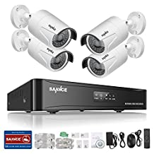 SANNCE 1080P 4CH POE NVR Security Camera System with 4*1080P 2MP CCTV Surveillance Cameras (Power Over Ethernet, Motion-Activated Alarm, 100ft Day Night Vision) - No HDD Included