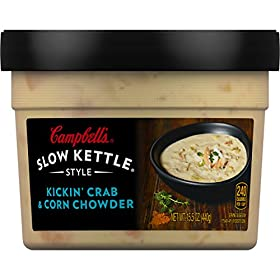 Campbell's Slow Kettle Style Kickin' Crab & Corn Chowder, 15.5 oz. Tub (Pack of 8)