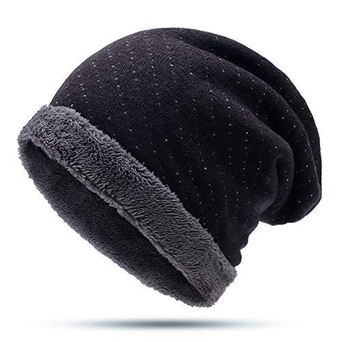 (Dot Knitted Beanie Hat Women Men Warm Plush Fleece Winter Hats Slouchy Sport Hip Hop Snow Bonnet Skull Caps)
