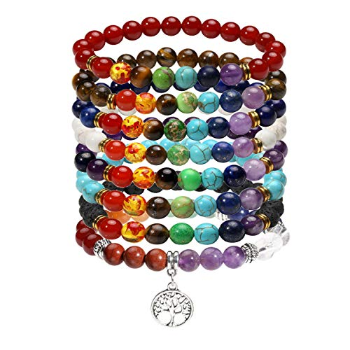 Eigso 8 Pcs 7 Chakra Bracelets Set for Women Men Reiki Healing Meditation Lava Rock Bracelet (Turquoise Link Bracelet Set)