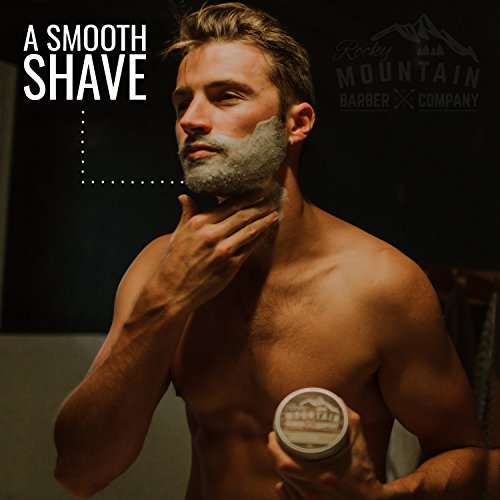 Shaving Cream for Men – With Natural Sandalwood Essential Oil – 5 oz Hydrating, Anti-inflammatory Rich & Thick Lather for Sensitive Skin & All Skin Types by Rocky Mountain Barber Company – 5 Ounce by Rocky Mountain Barber Company (Image #8)