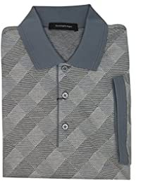 Italy Gray 100% Cotton Geometric Print Polo