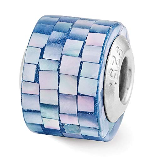 Blue Mother Of Pearl Mosaic - Lex & Lu Sterling Silver Reflections Blue Mother of Pearl Mosaic Bead LAL5766
