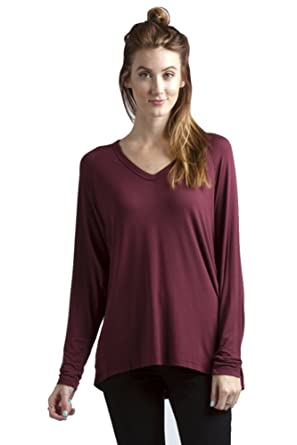 03788f5aeb9a7e Ladies MicroModal/spandex V-Neck Long Sleeve Tunic Top at Amazon Women's  Clothing store: