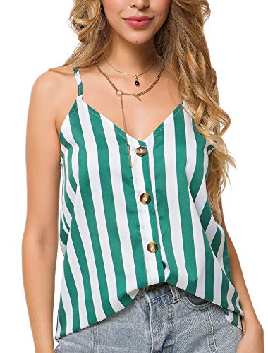 10 Club Top - Euaoxnc Womens Striped Button Down V Neck Strappy Casual Loose Cami Shirt Tank Tops(Y Green,M)