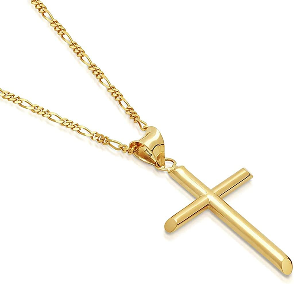 Riveting Jewelry 14K Gold Figaro Chain Style Cross Pendant Necklace Solid Plated Clasp for Men,Women,Teens Thin for Charms Miami Cuban Link Diamond Cut 2