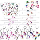 Unicorn Party Favors Kits(34Pack), Konsait Unicorn Bracelets Wristband| Key Chain | Temporary Tattoos| Rubber Rings Toys Prizes Gifts Great Party Bag Filler for Kids Birthday Unicorn Party Supplies