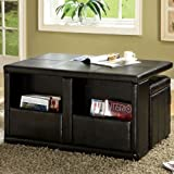Palm Springs Espresso Leatherette Finish Magazine Rack Coffee Table Set