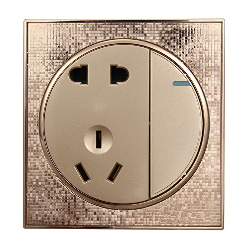 Autumn Water 86 Wall Switch 5 Holes with Switch Socket Panel 1 Gang 1 Way Touch Switch Socket 10A/250V Hotel Champagne Gold Popular