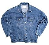 Papijam Mens Casual Washed Rugged Loose Trucker Denim Jean Jacket Coat Blue 2X-Large