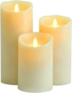 Aglary Realistic and Bright Candle, Battery Operated Flameless LED Pillar Candle with Timer Control, Real Wax Vanilla Scented, Ivory Set of 5 7