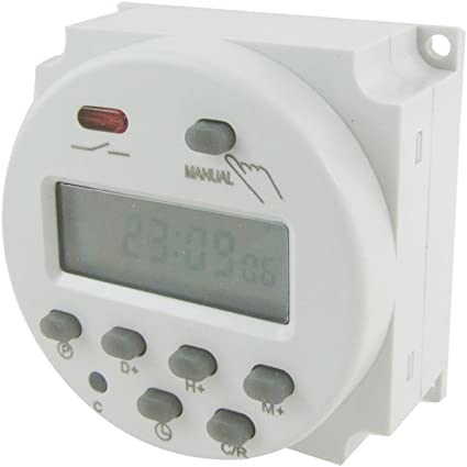 Rel/è tempo su guida DIN Display LCD Interruttore elettronico settimanale Temporizzatore 12V Ripeti programmi con 16 ON e 8 OFF Impostazioni 16A 12//24 // 110V Timer programmabile