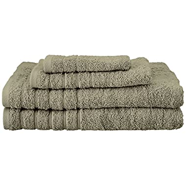 SALBAKOS Barnum 4 Piece 700 Gsm Turkish Combed Cotton Family Towel Set with Bath Towels, Green