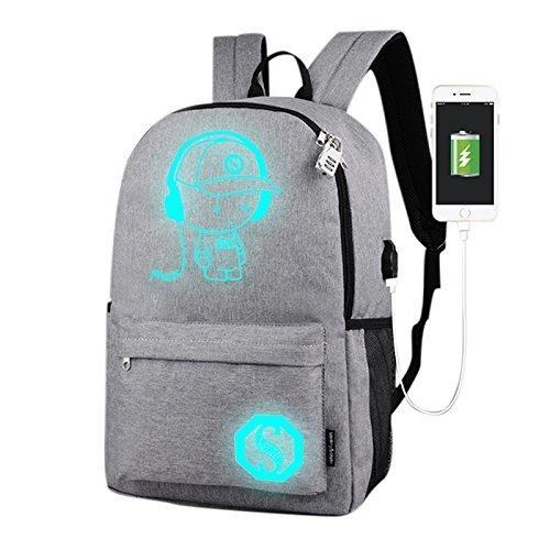 2018 Popular Brillando mochilas tipo casual para Hombres y Mujeres, Mochila con usb, Bolsa de viaje, Bolsa de computadora Chico de La Música Gris Claro