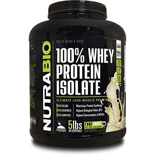 NutraBio 100% Whey Protein Isolate - £ 5 - Unflavored sans soja, concentré de lactosérum NO, NO acides aminés Smasher seulement 100% Pure WPI.
