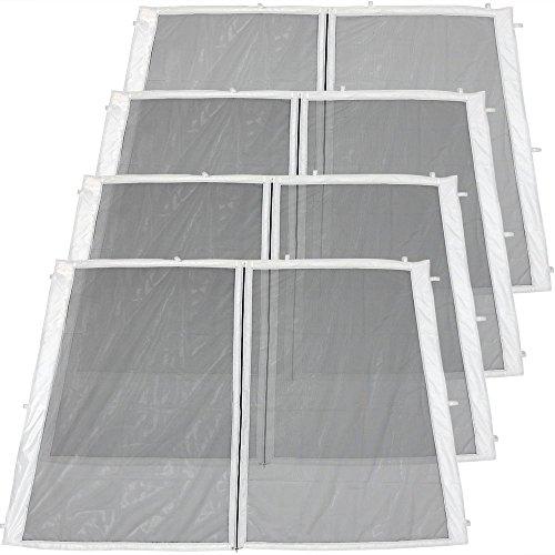 Sunnydaze Decor Zippered Mesh Sidewall Kit for 8x8ft Slant-Leg Canopies, 4-Pack All Zippered Entries