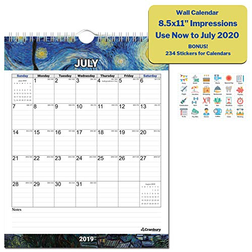 Small 2019-2020 Academic Wall Calendar (Impressions) 8.5x11 Stunning Monthly Hanging Calendar, Use Through July 2020, Monthly Calendar with Calender Stickers, Back-to-School Year Calendar