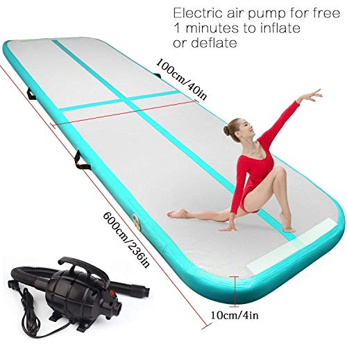 FBSPORT Airtrack Gymnastic Tumbling Mat Inflatable Air Floor Mat Exercise Mat with Free Electrical Pump for Home Use/Beach/Park/Gym Fitness/Yoga on Water
