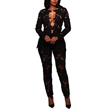 835a601c Joseph Costume Women's Sexy Floral Lace Blazer Long Sleeve Bodycon Two Piece  Jumpsuit Rompers Clubwear Black