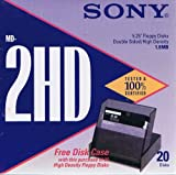 Sony MD-2HD 5.25'' Floppy Disks Double Sided / High Density 1.6 MB - 20 Pack - with Free Disk Case