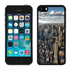 NEW Unique Custom Designed iPhone 5C Phone Case With New York City Skyline Clouds_Black Phone Case wangjiang maoyi