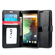 OnePlus 2 Case, J&D [Stand View] OnePlus 2 Wallet Case [Slim Fit] [Stand Feature] Premium Protective Case Wallet Leather Case for OnePlus 2 (Black/Red, OnePlus 2)