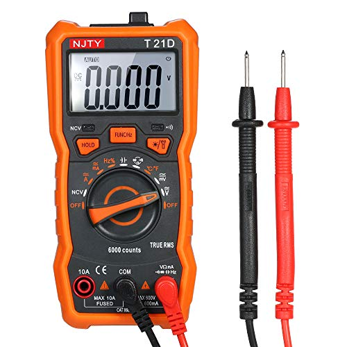 Festnight Mini Digital Multimeter 6000 Counts Multi-functional Non Contact True RMS Multi Meter Voltmeter Ammeter Ohmmeter Measuring AC/DC Voltage Current Resistance Capacitance Frequency Temperature ()