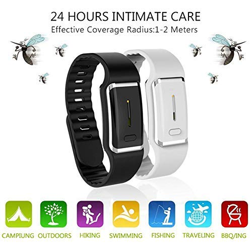 Goglor Ultrasonic Mosquito Repellent Leather Bracelets, Reusable Electronic Mosquito Repellent Wristband Band with USB Cable, 2019 Best Travel/Camping Accessories for Kids Children and Adult