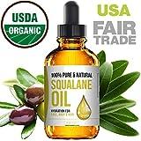 Squalane Oil - Nourishing Organic Olive Oil Moisturizer - Pure Undiluted Moisturizing Oil For Face, Body, Skin & Hair - Fair Trade & 100% Organic - USA Made 2 Fl. Oz