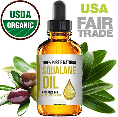 Squalane Oil - Nourishing Organic Olive Oil Moisturizer - Pure Undiluted Moisturizing Oil For Face, Body, Skin & Hair - Fair Trade & 100% Organic - USA Made 2 Fl. ()