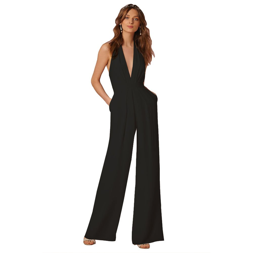 Lielisks Sexy Jumpsuits Formal Sleeveless V-neck Halter Wide Leg Long Pants Black M