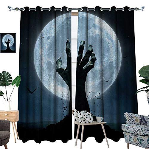 RenteriaDecor Halloween Patterned Drape for Glass Door Realistic Zombie Earth Soil Full Moon Bat Horror Story October Twilight Themed Waterproof Window Curtain W72 x L96 Blue -